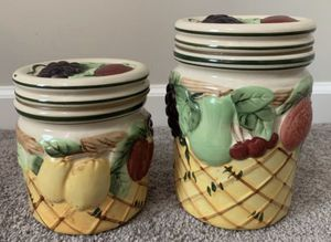 SET OF 2 CERAMIC PORCELAIN CANISTER KITCHEN FOOD POTS for Sale in CHAPEL HILL, NC