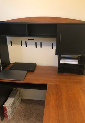 Desk with hutch, one piece, black and wood for Sale in San Diego, CA