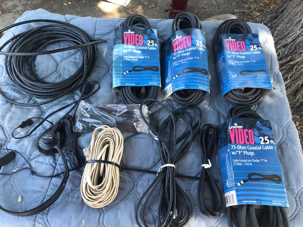 New 100 ft of Leviton Video 75-Ohm Coaxial Cable w/F PlugsF Plugs, Also Miscellaneous cable's