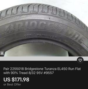 Pair 2255018 Bridgestone Turanza EL450 Run Flat with 90% Tread 8/32 95V #9557 for Sale in Miami, FL