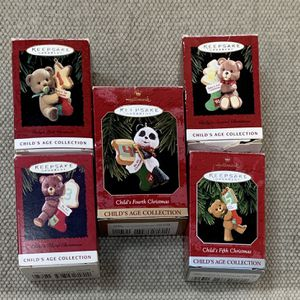HALLMARK'S CHILD'S AGE COLLECTION CHRISTMAS ORNAMENTS BABY'S 1ST THRU 5TH for Sale in Wendell, NC