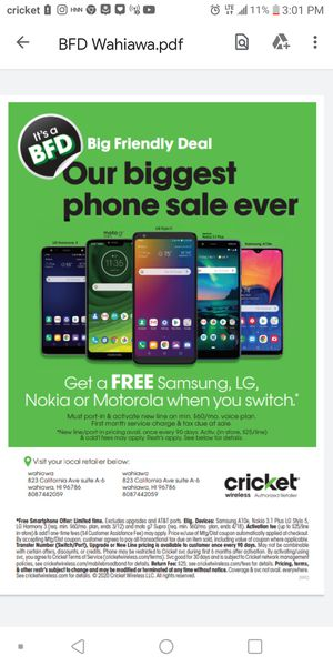 We're having a BFD SALE! 12 FREE Androids to choose from when you SWITCH TO CRICKET! for Sale in Wahiawa, HI