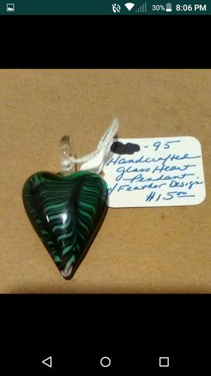 Blown Glass Green Heart Pandent Charm for Sale in Shepherdstown, WV