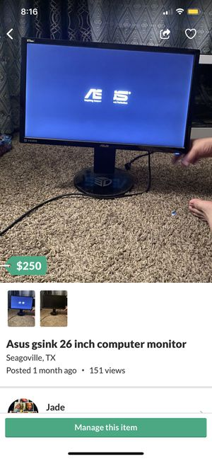 Asus gsink 26 inch Computer monitor for Sale in Seagoville, TX