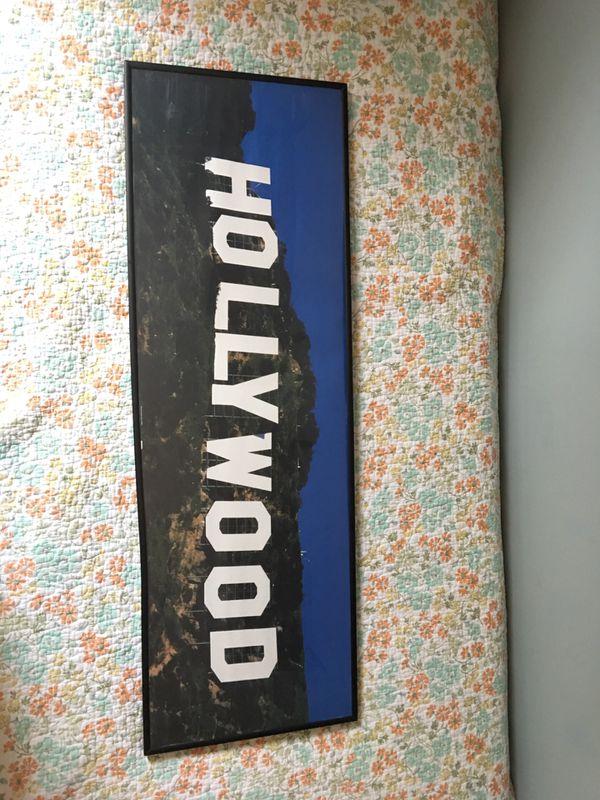 """Framed """"Hollywood"""" sign."""
