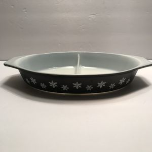 Vintage Pyrex Black SnowFlake 2 Divide Dish for Sale in Gainesville, FL