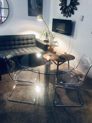 Acrylic chrome and glass Dinette set for two for Sale in Monroe, WA