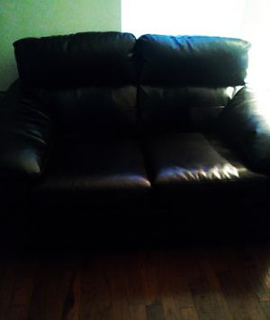 Black genuine leather 2seat sofa gently used for Sale in Phoenix, AZ