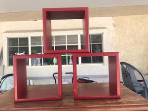 Red wall shelves - 3 piece for Sale in Montclair, CA