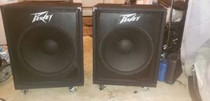 Peavey 118D powered subwoofer set with padded covers and heavy duty casters for Sale in Fort Washington, MD