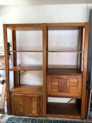 "Solid Oak Wall Unit - 6' 2"" H, 5' 4"" L, 18"" Deep with 6 Oak Shelves for Sale in Tamarac, FL"