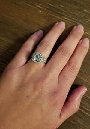 3 ct. Aquamarine and Diamond Engagement Ring and Wedding Band Set - Valentine's Day Gift! for Sale in Niles, IL
