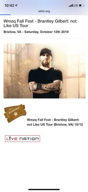 4 Tickets to Brantley Gilbert 10/12/19 for Sale in Rockville, MD