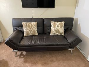 Brown leather Futon, can deliver for Sale in El Cajon, CA