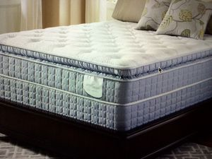 Queen pillow top mattress and box at 1:50 for Sale in Kansas City, MO