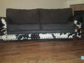 Real cowhide and leather sofa , in excellent condition for Sale in Hockley,  TX