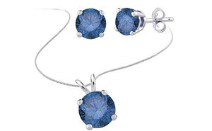 Blue Diamond Solitaire Stud Earrings and Necklace jewelry Set in 14k White Gold (1/2 cttw) for Sale in North Las Vegas, NV