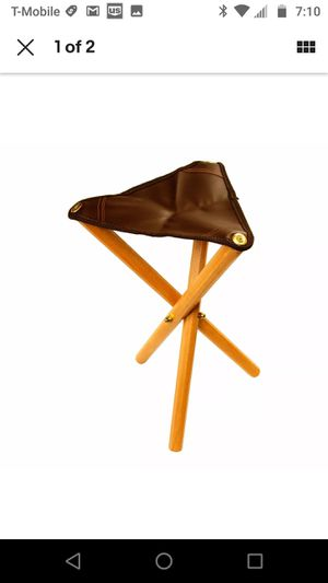 Modern Portable Three Leg Wood Artist Camping Folding Stool Leather Saddle Seat chair for Sale in Montclair, CA