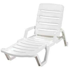 Lounge chair white patio furniture includes side table for Sale in Canton, MI