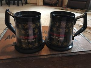 2 vintage Budweiser plastic beer mugs from the 70's for Sale in Wichita, KS