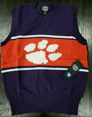 New Men's OTS Clemson Tigers Sweater Vest Medium Logo Purple Size Medium for Sale in Dallas, TX