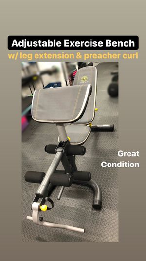 Gym exercise bench w/ leg extension & preacher arm curl bar - adjustable flat incline decline! Weights available for Sale in Upper Saddle River, NJ