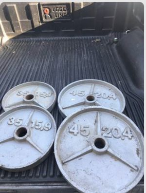 """45lbs and 35lbs pair weights 2"""" hole for Sale in Saginaw, TX"""