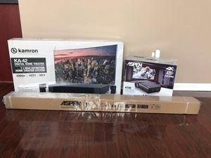 Aspen 4K 3D HDMI A150 projector, self locking screen,and kamron KA-42 digital home theater for Sale in Durham, NC