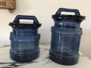 Vintage Blue Glass Canisters for Sale in Plano, TX
