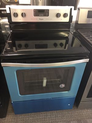 Whirlpool Stainless Steel Electric Stove With Warranty No Credit Needed Just $49 Down Payment Cash Price $799 for Sale in Garland, TX