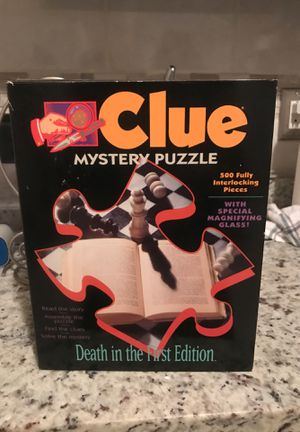 1992 Clue Mystery Puzzle Game 500pc Death in the First Edition New Open Box for Sale in Chicago, IL