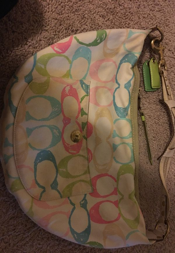 Large Coach pink/blue/green/beige hobo purse bag