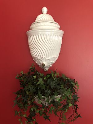 Ceramic Wall Fountain (shown with ivy plant, yet could hold water) for Sale in Kensington, MD