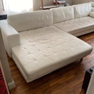 White Leather Modern Sectional With Double-wide Chaise for Sale in College Park, GA