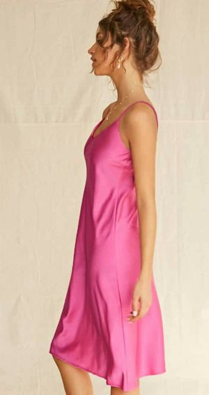 Women's Hot Pink Satin Cami Dress Forever 21 Brand Medium Size New with Label for Sale in Des Plaines, IL