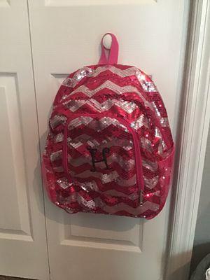 Pink/silver sequin letter H book bag for Sale in Auburndale, FL