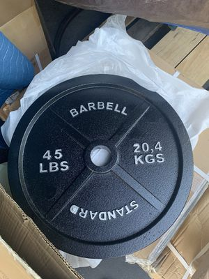 **Brand New** PAIR (2x) OLYMPIC 45lbs CAST IRON Weight Plates for Sale in Glendora, CA