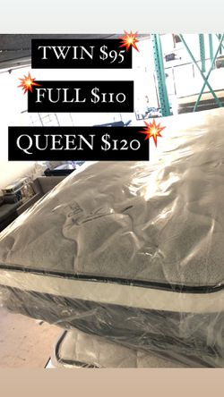 BAMBOO PILLOW TOP MATTRESSES ☎️📲 •10inches thick •same day delivery or pick up •twin $95 •Full $110 •queen $120 for Sale in Compton,  CA