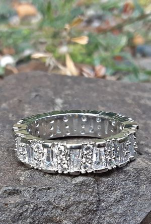 Tapered Baguette Cut CZ Band Ring Size 8 White Gold Filled for Sale in Union, WA