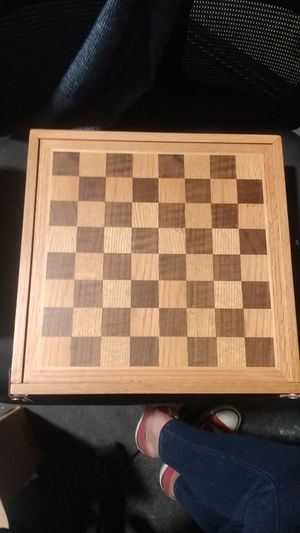Wooden box Flip Game Board Set, Checkers, Backgammon, Dice, Poker Chips for Sale in Midvale, UT