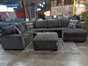 Sectional Sofa with Ottoman, Smoke, SKU# ASH8070308TC for Sale in Santa Fe Springs, CA