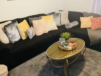 Black Leather L Sofa 🛋 for Sale in Orlando,  FL
