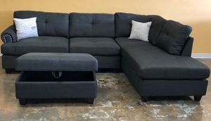 Brand New Ash Black Linen Sectional Sofa Couch + Storage Ottoman for Sale in Silver Spring, MD