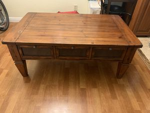 Coffee table solid wood, distressed with storage cabinet drawers for Sale in San Diego, CA
