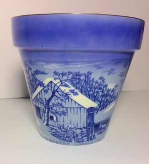 Currier And Ives Home In The Wilderness Blue Flower Pot for Sale in Fresno, CA