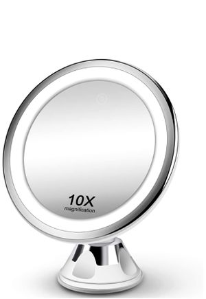 Makeup Mirror 10X Magnifying Vanity Mirror - 3 Color Modes & 36 LED Cosmetic Mirror, Touch Control, High Definition, 360°Rotation & Powerful Suction for Sale in Adelphi, MD
