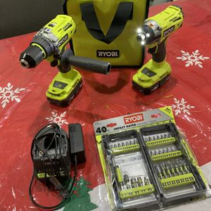 Brand new Ryobi 18v brushless hammer drill and impact with 2 batteries with charger, drill bits for Sale in Porter, TX