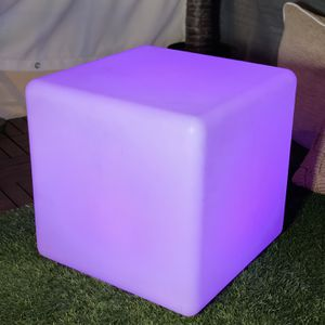 Mr.Go 16-inch 40cm Rechargeable LED Light Cube Stool Waterproof with Remote Control Magic RGB Color Changing Side Table Home Bedroom Patio Pool Party for Sale in Santa Monica, CA