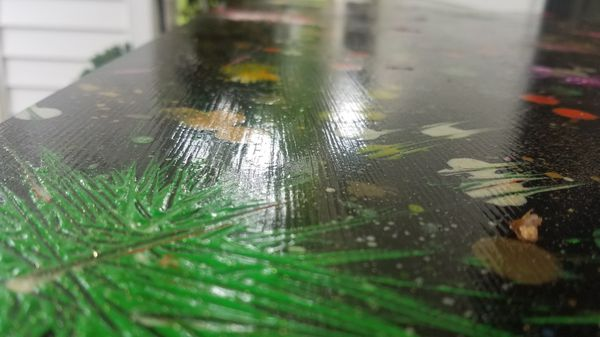 Breakfast Table with abstract paint artwork