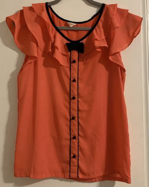 Hot pink ruffle blouse top with bow for Sale in Silver Spring, MD